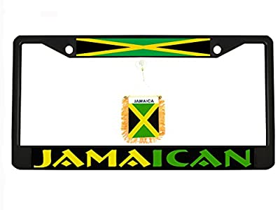 Jamaican black Metal Auto License Plate Frame Car Tag Holder with car banner flag hanger