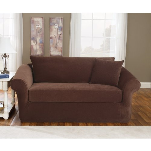 Admirable Sure Fit Pique 3 Piece Stretch Loveseat Slipcover Chocolate Short Links Chair Design For Home Short Linksinfo