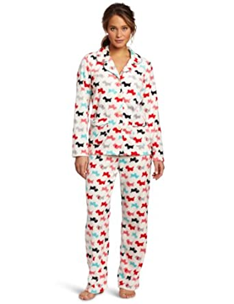 Dearfoams Women's Piped Notch Collar Pajama Set, Scottie Dogs, X-Large