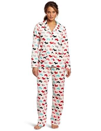 Dearfoams Women's Piped Notch Collar Pajama Set, Scottie Dogs, Small