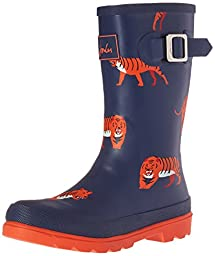 Joules Boys\' Jnrboyswelly Rain Boot, Navy Tiger, 2 M US Little Kid