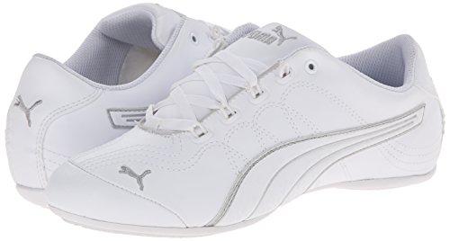 PUMA Women's Soleil V2 Comfort Fun Classic Sneaker, White/Puma Silver, 8 B US
