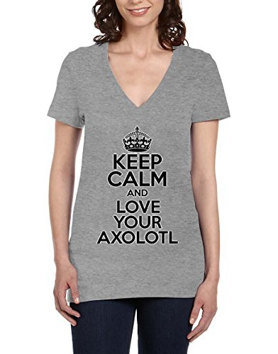 Keep Calm AND LOVE YOUR AXOLOTL Womens V-Neck T-Shirt X-Large