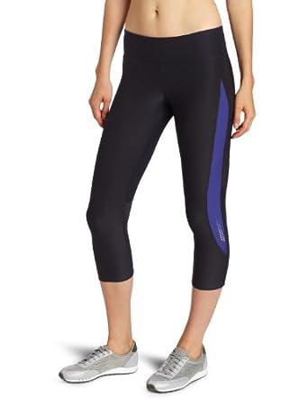 Spalding Women's Performance 3/4 Legging, Black/Ultraviolet, Small