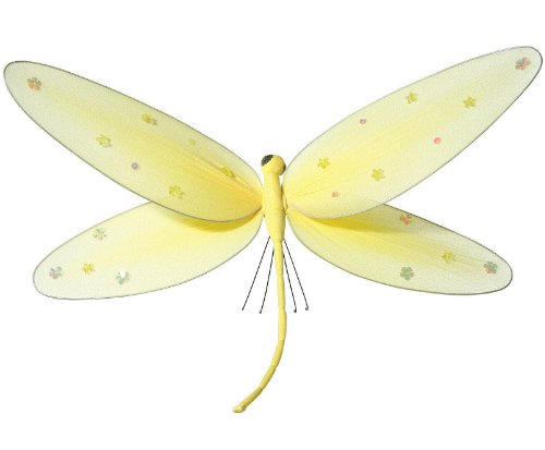 "Hanging Dragonfly 5"" Small Yellow Nylon Dragonflies With Sequins And Glitter For Baby Nursery Bedroom Décor, Girls Room Ceiling Wall Décor, Wedding Birthday Party, Baby Bridal Shower Decoration"