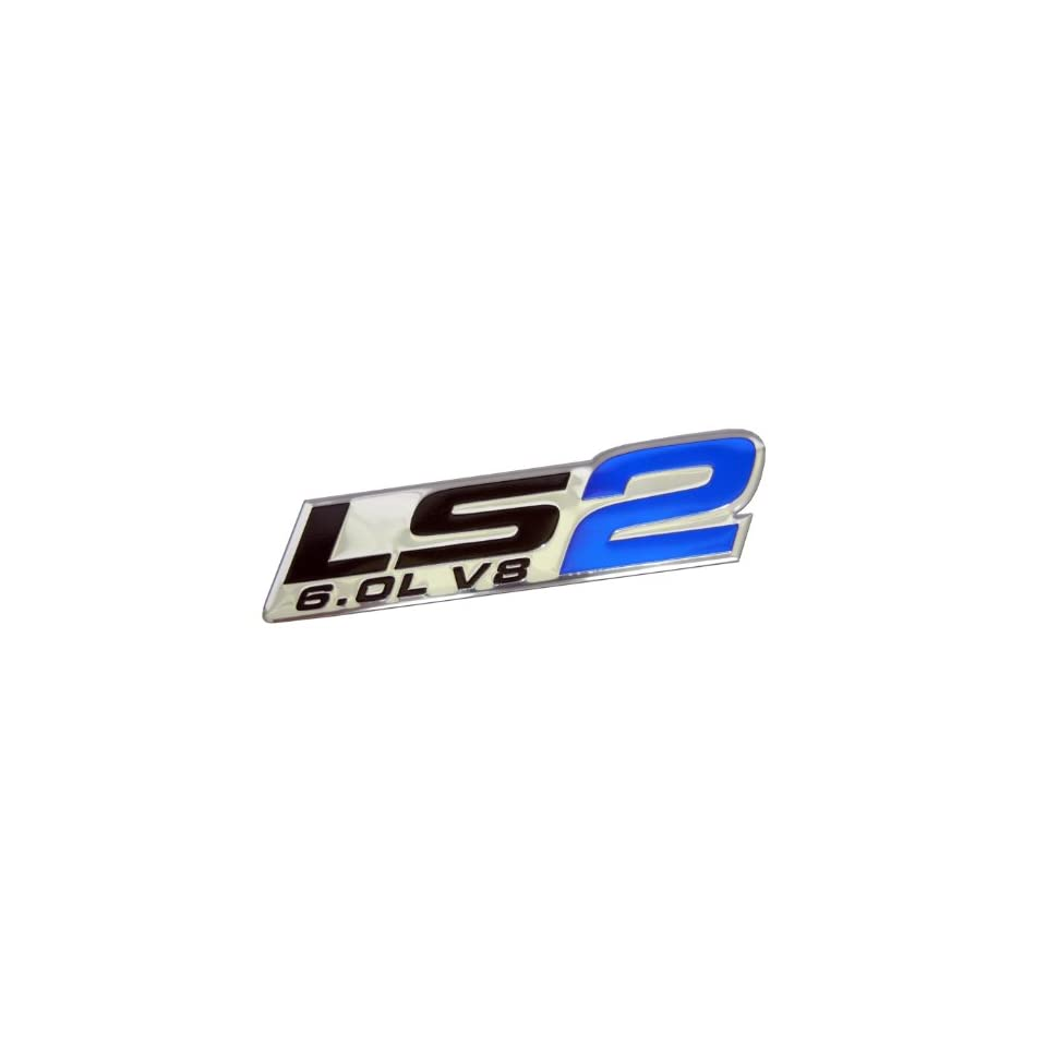Ls2 6 0l v8 blue engine emblem badge highly polished aluminum chrome silver for gm general