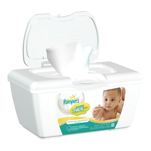 Pampers Sensitive Thickcare Wipes Tub 60 Count (Pack of 8)