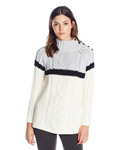 525 America Women's Tri Color Cable Sweater