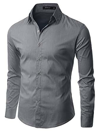 Doublju Mens Unique Button Down Comfortable Long Sleeve Dress Shirt GRAY,(US XS)