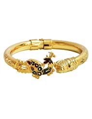 Gold Plated Hinge Bracelet With Peacock Design - Metal - B00MVYOU1S