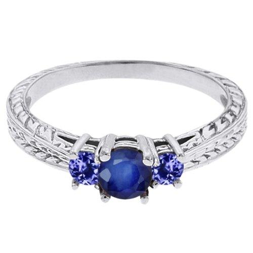 0.60 Ct Round Blue Sapphire Tanzanite 18K White Gold 3-Stone Ring