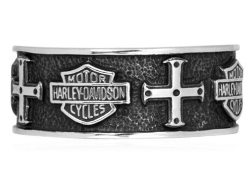 Harley-Davidson® MOD® Men's .925 Sterling Silver Cross Band Ring. HDR0319