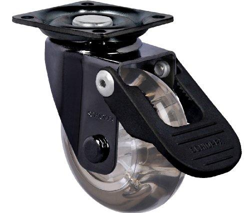 Schioppa, GLAP 210 GEL Black FPI-BR, 2″ (50 mm) Swivel Brake Caster, Non-Marking Polyurethane Whl, 90 lb, Plate 1-21/32 x 1-21/32″ (BH 1-1/4 x 1-1/4″)