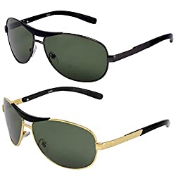 Silver Kartz Luxury Metal-Crown Green Wayfarer, Rectangular, Gun metal-Crown Combo Sunglasses(AV035)