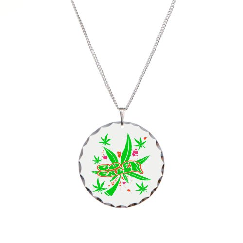Necklace Circle Charm Marijuana Go Green Neon