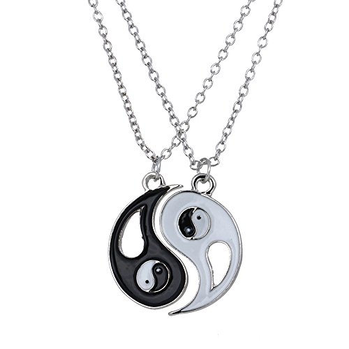 Chinese Ancient Jewelry Tai Chi Taichi Yin Yang Puzzle Pendant Lover Couples Necklace 2 Pieces