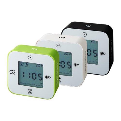【 三色 】 IKEA LOTTORP 時計 温度計 アラーム タイマー ホワイト  803 057 09 (ホワイト×ホワイト)