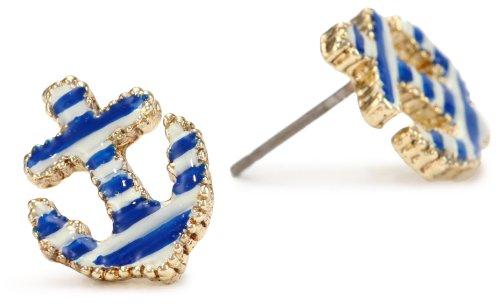 Betsey Johnson Striped Anchor Stud Earrings
