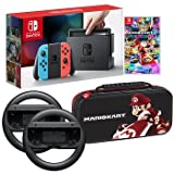 Nintendo Switch Bundle: 32GB Console Red and Blue Joy-Con, Nintendo Switch Wheel (set of 2), Deluxe Travel Case and Mario Kart 8 Deluxe Edition Video Game (Color: Red, Blue)