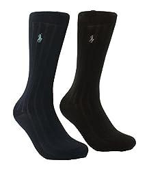 Polo Ralph Lauren Men's 3-Pack Cotton Rib Casual Socks (10-13, Black/Navy/Charcoal)