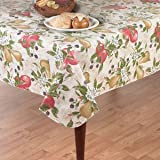"Everyday Fruits Flannel Back Vinyl Tablecloth, 52"" x 52"" Square"