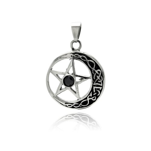 **Lead Free** Stainless Steel 29.5Mm Diameter Moon And Star Design Fashion Charm Pendant