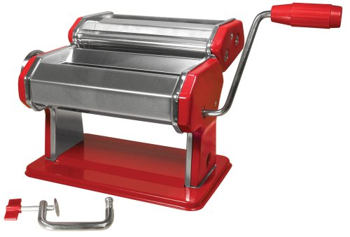 Weston 01-0221-K Manual Pasta Machine, 6-Inch, Red