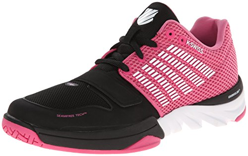 K-Swiss Women's X Court Cross-Training Shoe, Black/Shocking Pink/White, 9 M US