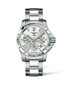 Longines Conquest Men's Automatic Watch with Silver Dial Chronograph Display and Silver Stainless Steel Bracelet L27434766