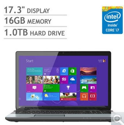 Toshiba Spacecraft S75 17.3 Laptop Computer, Intel 4th generation Quad Heart i7-4700QM 2.4GHz, 16GB Memory, 1TGB Unvarnished Drive, Wireless, HDMI, Windows 8