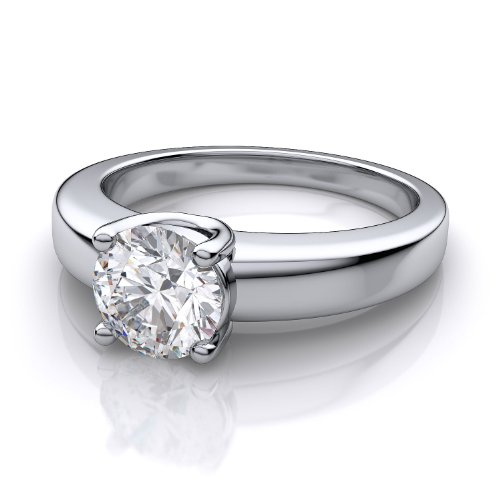 Platinum Low Profile Round Diamond Engagement Ring 1 0ctw SI1 SI2