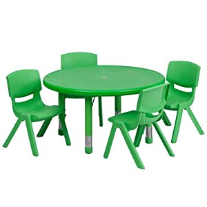 Flash Furniture 33'' Round Adjustable Green Plastic Activity Table Set with 2 School Stack Chairs from Flash Furniture