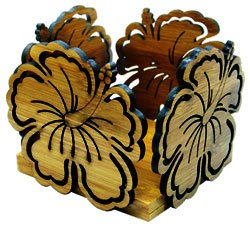 Hawaii Bamboo Candle Holder Hibiscus