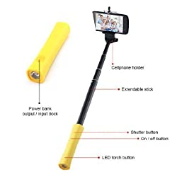 Hornet Electronics TM, High-Tech 3-in-1 Bluetooth Selfie Stick with Built-in Remote Shutter, Power Bank for iPhone and Android Smart phone - the Best Selfie Stick (White)