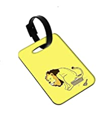 Snoogg The Lion On The Pot Designer Luggage Tags Premium Quality Card Tags - Great For Travel