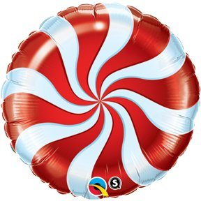 "Candy Swirl Red 18"" Round Balloon Pack of 5"