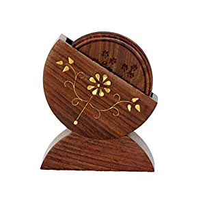 Pindia Wooden Dinning Table Glass Holder Coaster Set
