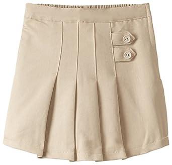 (4717) Genuine School Uniforms Girls 2 Tab Pleated Scooter Skort (Sizes 4-16) in Khaki Size: 4