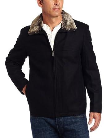 (29折)Nautica Men's Melton Coat with Fur Collar 诺帝卡毛领羊毛大衣 $71.75