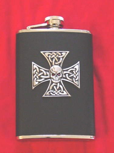 Leather with Tribal Tattoo Crystal jeweled Pewter Iron Cross Design