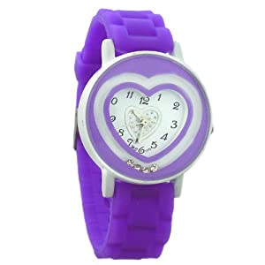 Leah Hanna Children's Heart Design Purple Silicon Band Analog Watch