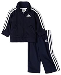 adidas Baby Boys\' Iconic Tricot Jacket and Pant Set, Navy/White, 3 Months