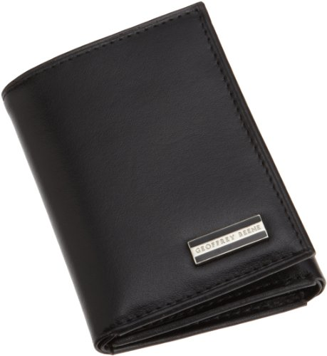 Geoffrey Beene Men's Hand Tipped Trifold Credit Card Wallet,Black,One Size