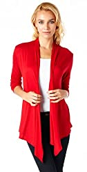 Popana Super-Soft Open Front Drape Cardigan - XL Red Made In USA