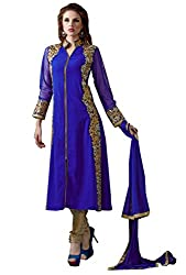 Shayona Women's Faux Georgette Unstitched Dress Material (AS364D208_Blue_Free Size)