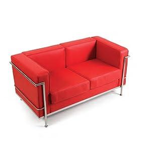 Divano due posti design moderno ecopelle rosso: Amazon.it ...