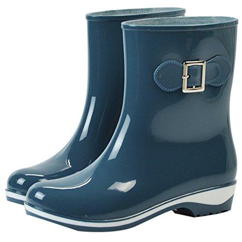 Da donna impermeabile in gomma antiscivolo Rain Boot Fibbia Caviglia Alta pioggia Scarpe, donna, Green-2, 7 B(M) US