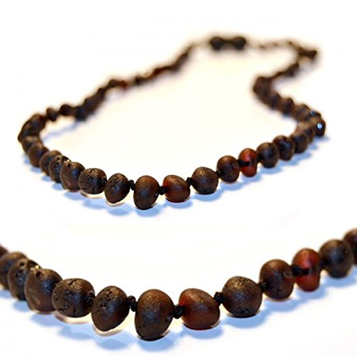 The Art of Cure Baltic Amber Teething Necklace for Baby (Raw black cherry) - Anti-inflammatory ...