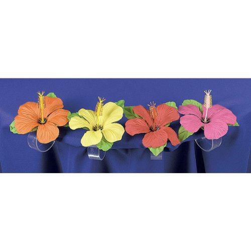 Tiki Island Table Clips with Hibiscus Flower