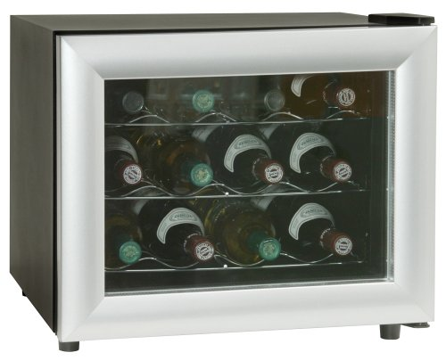 Haier HVT12ABS 12-Bottle-Capacity Table-Top Wine Cellar, Black with Silver Trim